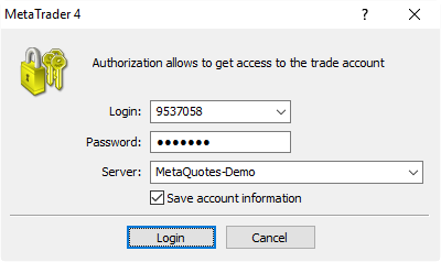 MT4 Login window